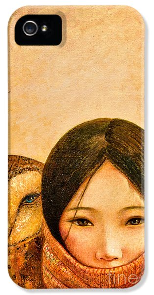 Owl iPhone 5 Case - Girl With Owl by Shijun Munns