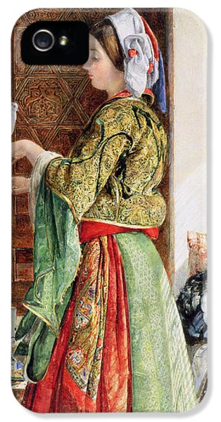 Girl With Two Caged Doves, Cairo, 1864 IPhone 5 Case by John Frederick Lewis