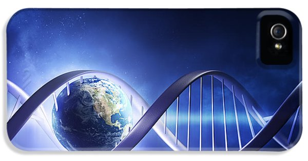 Glowing Earth Dna Strand IPhone 5 Case by Johan Swanepoel