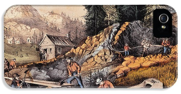 Gold Mining In California IPhone 5 Case by Currier and Ives