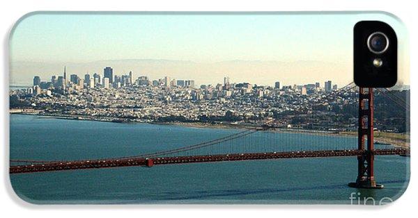 Office Buildings iPhone 5 Case - Golden Gate Bridge by Linda Woods
