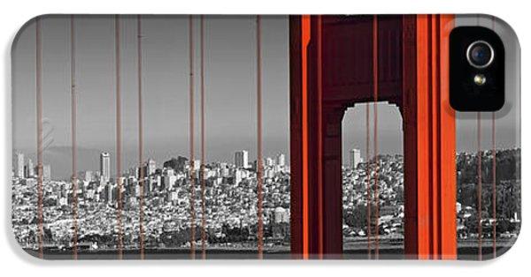 Golden Gate Bridge Panoramic Downtown View IPhone 5 Case by Melanie Viola