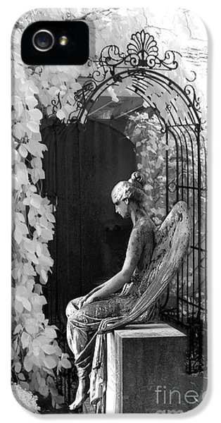 Gothic Surreal Black And White Infrared Angel Statue Sitting In Mourning Sadness Outside Mausoleum  IPhone 5 Case by Kathy Fornal
