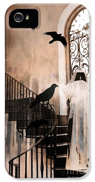 Gothic Grim Reaper With Ravens Crows - Spooky Haunting Surreal Gothic Art IPhone 5 Case