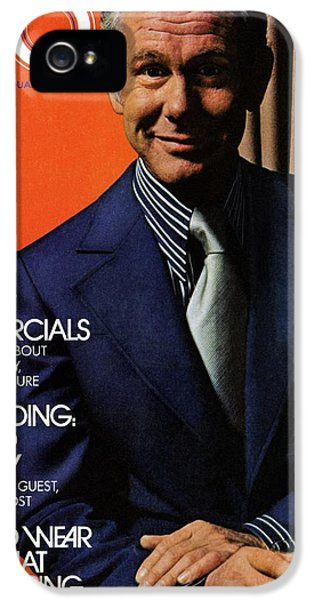 Gq Cover Of Johnny Carson Wearing Suit IPhone 5 Case by Bruce Bacon