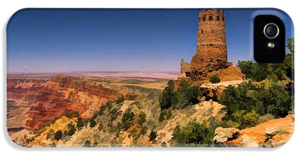 Grand Canyon Desert View Watchtower Panorama IPhone 5 Case by Christopher Arndt