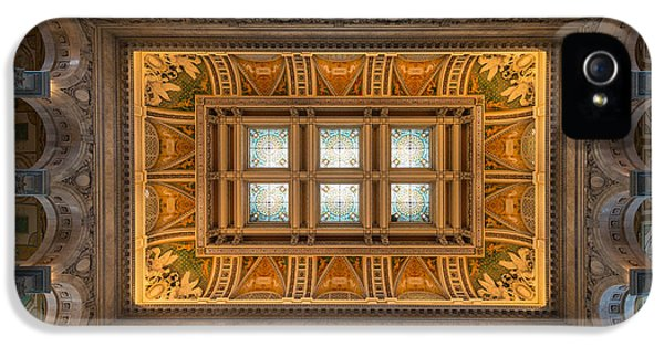 Great Hall Ceiling Library Of Congress IPhone 5 Case by Steve Gadomski