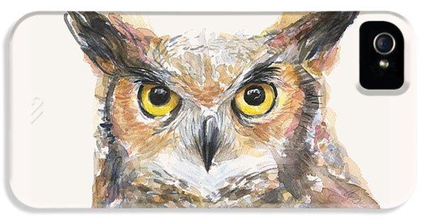 Owl iPhone 5 Case - Great Horned Owl Watercolor by Olga Shvartsur