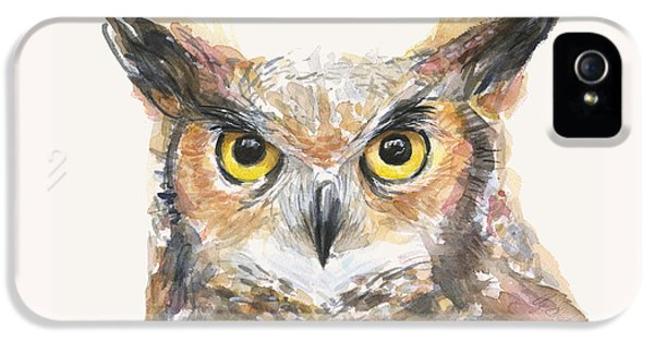 Great Horned Owl Watercolor IPhone 5 / 5s Case by Olga Shvartsur