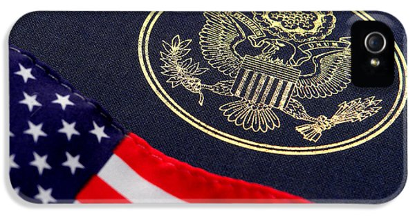 Great Seal Of The United States And American Flag IPhone 5 Case by Olivier Le Queinec