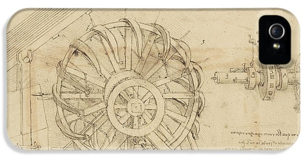 Great Sling Rotating On Horizontal Plane Great Wheel And Crossbows Devices From Atlantic Codex IPhone 5 Case by Leonardo Da Vinci