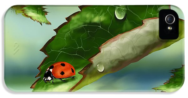 Ladybug iPhone 5 Case - Green Leaf by Veronica Minozzi