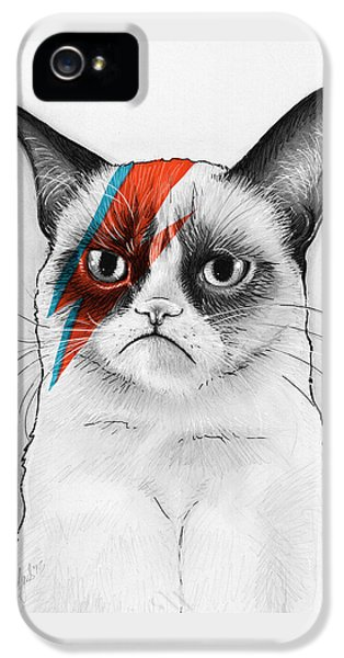 Grumpy Cat As David Bowie IPhone 5 / 5s Case by Olga Shvartsur