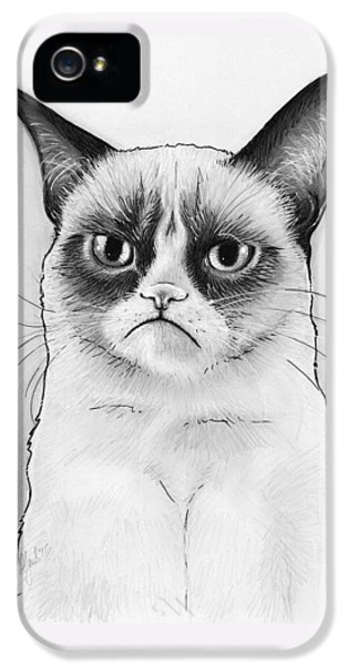 Grumpy Cat Portrait IPhone 5 Case by Olga Shvartsur