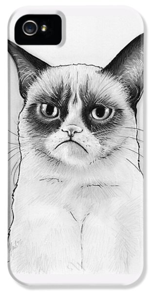 Cat iPhone 5 Case - Grumpy Cat Portrait by Olga Shvartsur