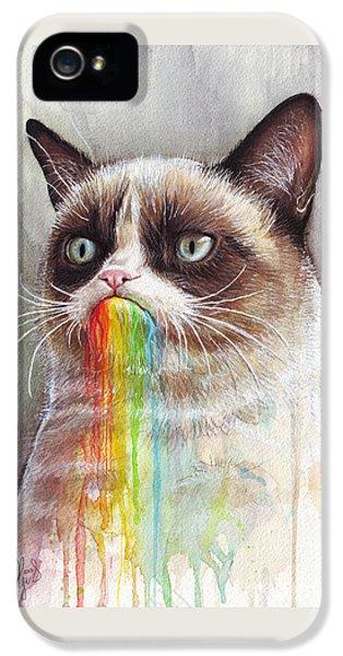 Grumpy Cat Tastes The Rainbow IPhone 5 / 5s Case by Olga Shvartsur