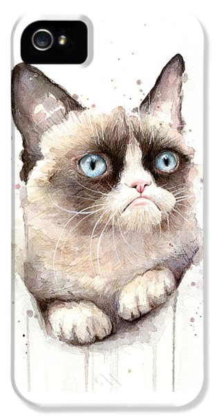 Portraits iPhone 5 Case - Grumpy Cat Watercolor by Olga Shvartsur