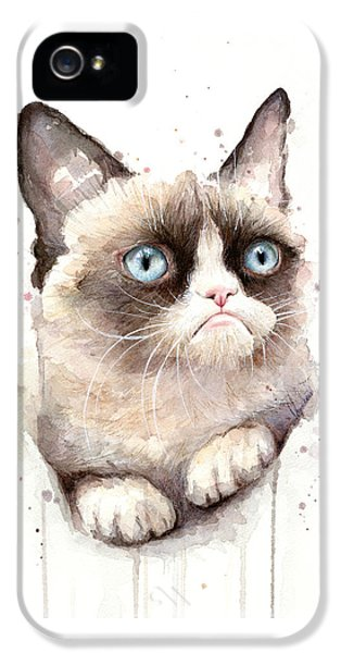 Grumpy Cat Watercolor IPhone 5 / 5s Case by Olga Shvartsur