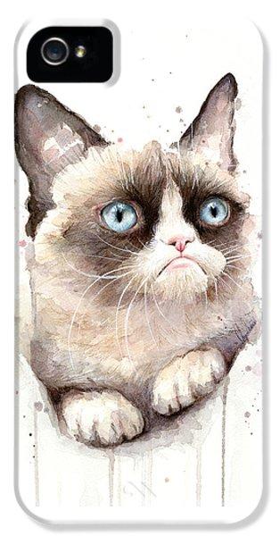Cat iPhone 5 Case - Grumpy Cat Watercolor by Olga Shvartsur