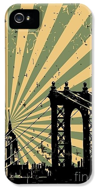Office Buildings iPhone 5 Case - Grunge Image Of New York, Poster, Vector by Pgmart