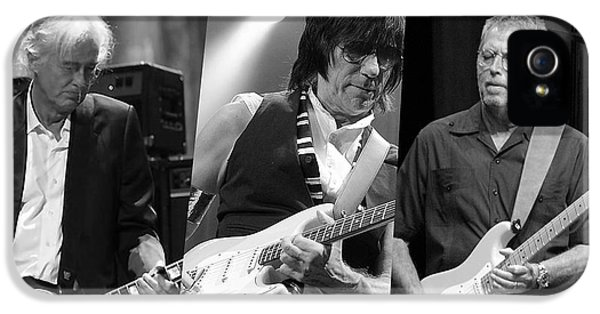 Guitar Legends Jimmy Page Jeff Beck And Eric Clapton IPhone 5 Case by Marvin Blaine