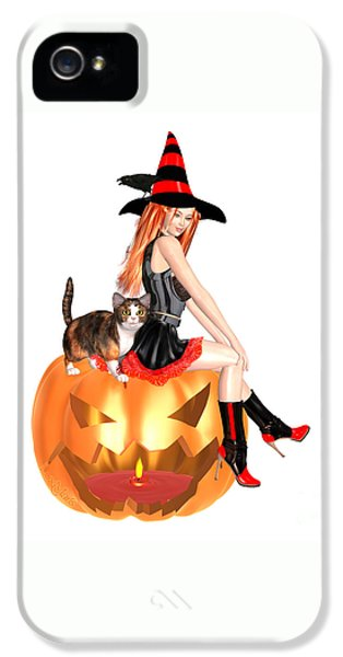Halloween Witch Nicki With Kitten IPhone 5 Case