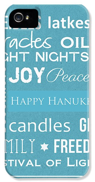 Hanukkah Words -greeting Card IPhone 5 Case by Linda Woods