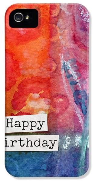 Happy Birthday- Watercolor Floral Card IPhone 5 Case by Linda Woods