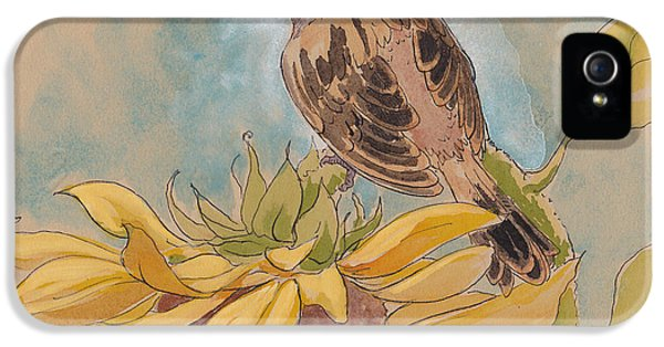 Happy Sunflower Sparrow IPhone 5 Case by Tracie Thompson