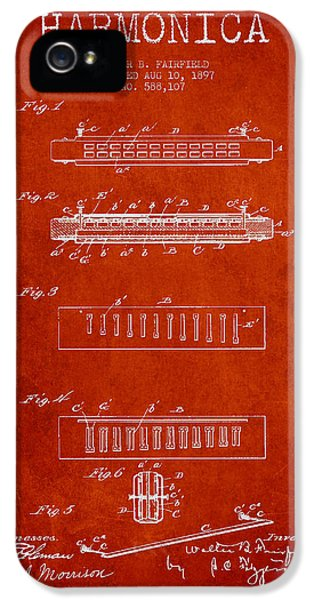Harmonica Patent Drawing From 1897 - Red IPhone 5 Case by Aged Pixel
