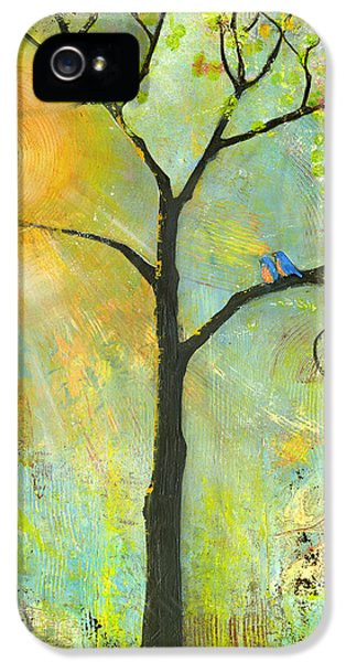 Lovebird iPhone 5 Case - Hello Sunshine Tree Birds Sun Art Print by Blenda Studio