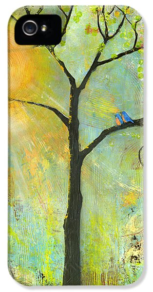 Hello Sunshine Tree Birds Sun Art Print IPhone 5 Case by Blenda Studio