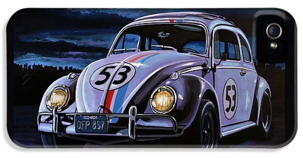 Beetle iPhone 5 Case - Herbie The Love Bug Painting by Paul Meijering