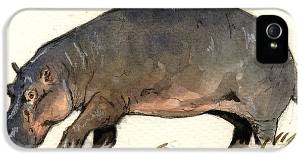 Hippo Walk IPhone 5 Case by Juan  Bosco