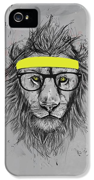 Lion iPhone 5 Case - Hipster Lion by Balazs Solti