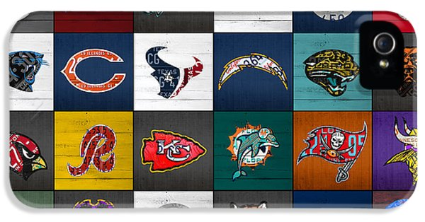 Hit The Gridiron Football League Retro Team Logos Recycled Vintage License Plate Art IPhone 5 Case by Design Turnpike