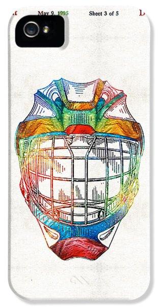 Hockey Art - Goalie Mask Patent - Sharon Cummings IPhone 5 Case