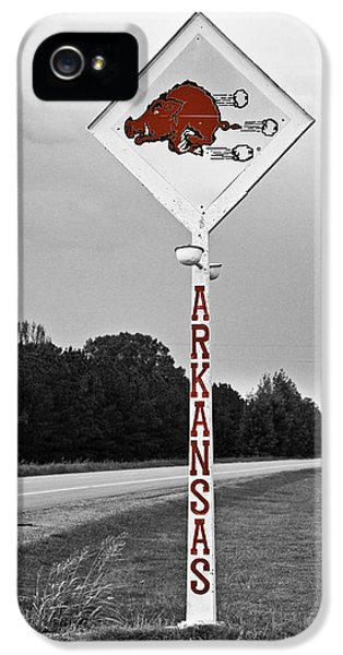 University Of Arkansas iPhone 5 Case - Hog Sign - Selective Color by Scott Pellegrin