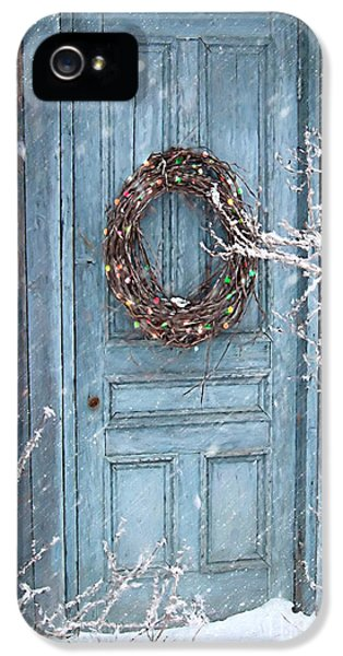 Barn Door And Holiday Wreath/digital Painting IPhone 5 Case