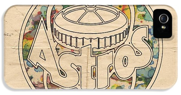 Houston Astros Vintage Poster IPhone 5 Case by Florian Rodarte