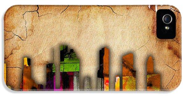 Houston Texas Skyline Watercolor IPhone 5 Case by Marvin Blaine