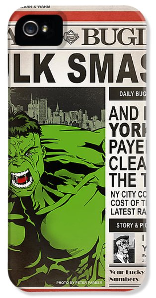 Hulk Smash - Daily Bugle IPhone 5 Case by Mark Rogan