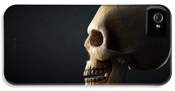 Human Skull Profile On Dark Background IPhone 5 Case by Johan Swanepoel