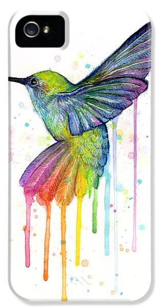 Weather iPhone 5 Case - Hummingbird Of Watercolor Rainbow by Olga Shvartsur