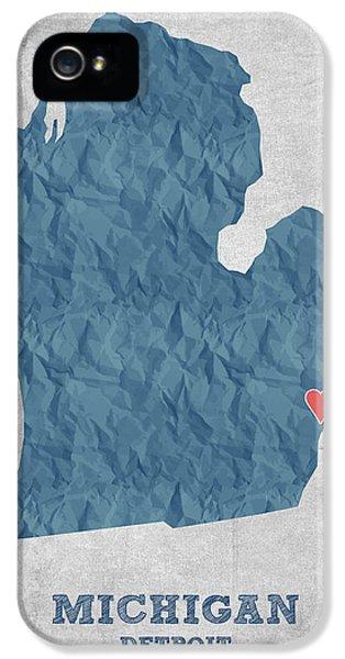 I Love Detroit Michigan - Blue IPhone 5 Case