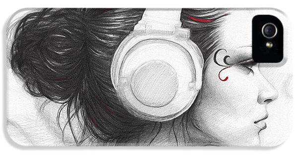 Pencil Drawing iPhone 5 Case - I Love Music by Olga Shvartsur