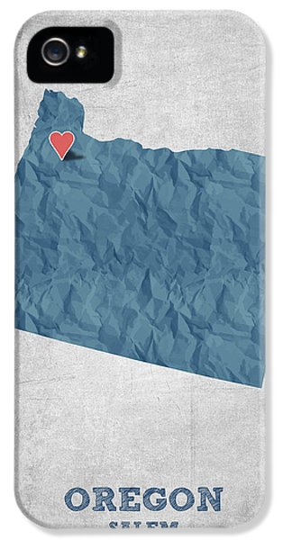 I Love Salem Oregon- Blue IPhone 5 Case by Aged Pixel