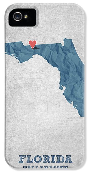 I Love Tallahassee Florida - Blue IPhone 5 Case by Aged Pixel