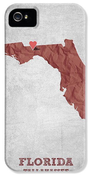 I Love Tallahassee Florida - Red IPhone 5 Case by Aged Pixel