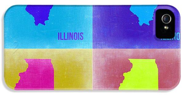 University Of Illinois iPhone 5 Case - Illinois Pop Art Map 2 by Naxart Studio